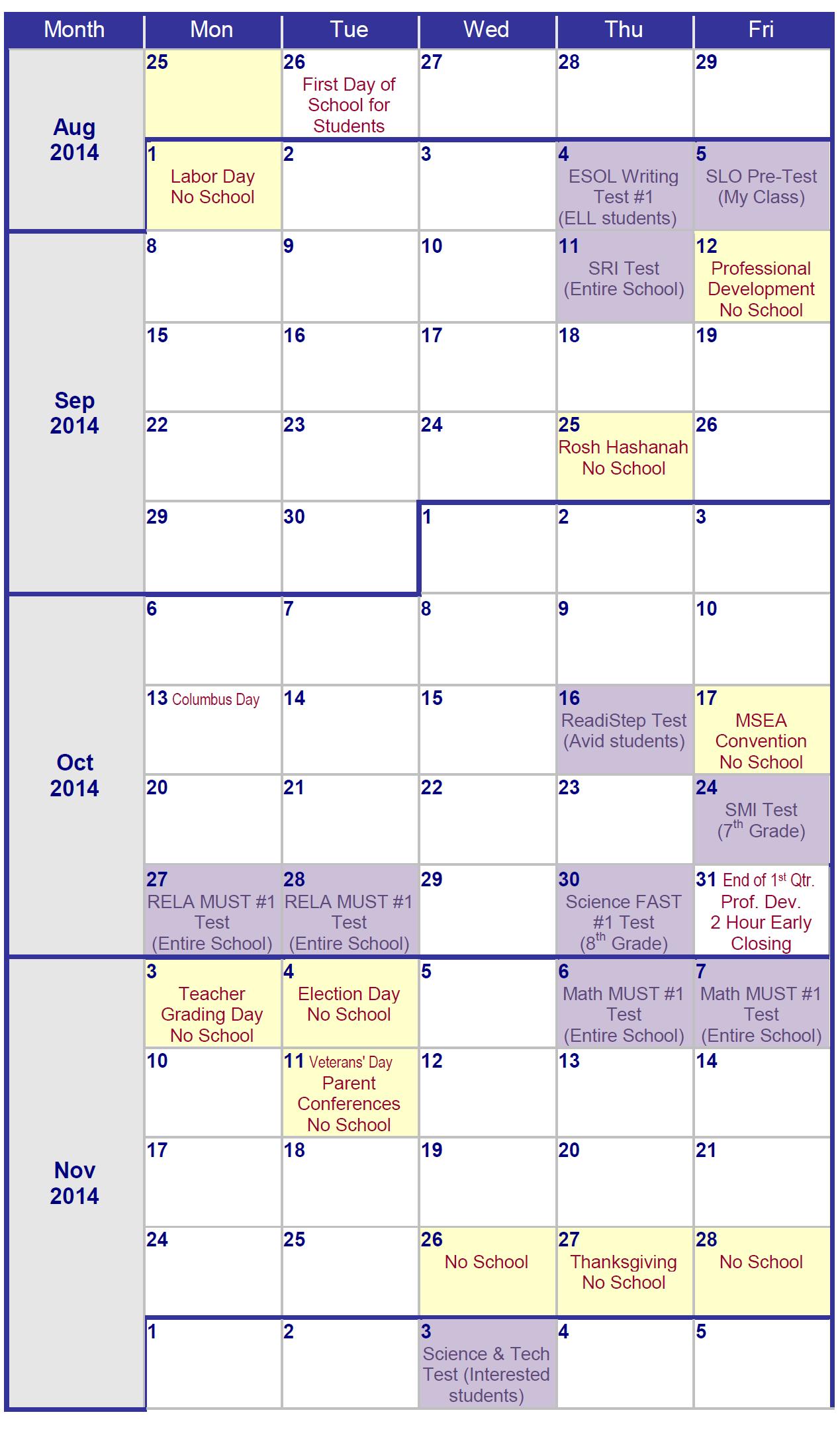 Pg County School Calendar One Local Middle School's Testing Calendar – Prince George's